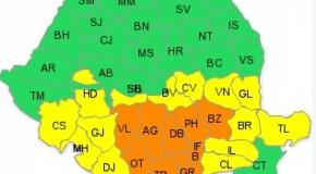 Cod portocaliu de ninsoare, in noua judete si in Bucuresti