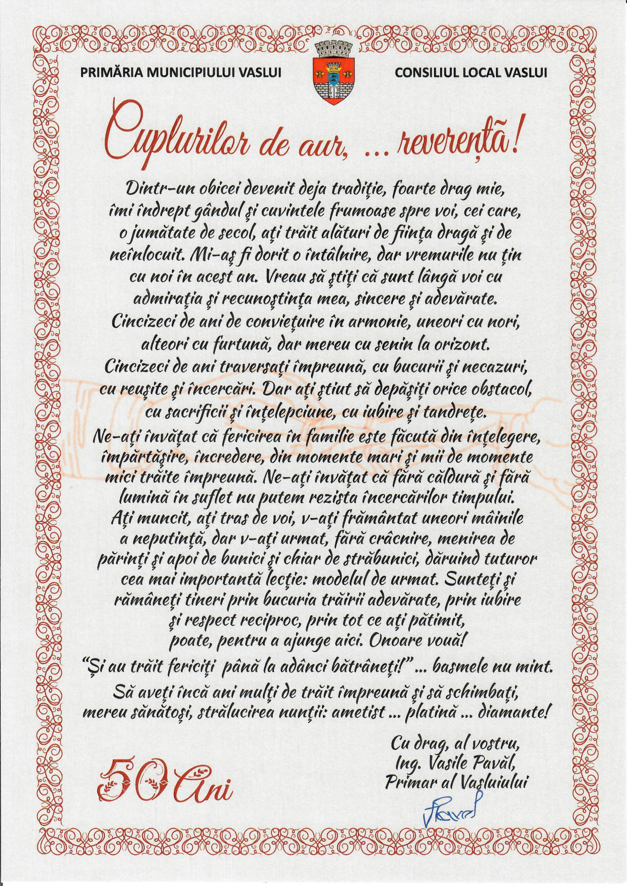 Mesaj primar Nunta de Aur 2020